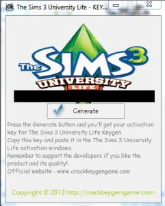 The Sims 3 University Life Original Keygen Generator and Crack