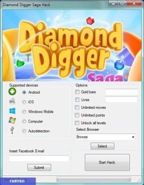 Diamond Digger Saga Hack add unlimited gold, infinite moves and infinite health