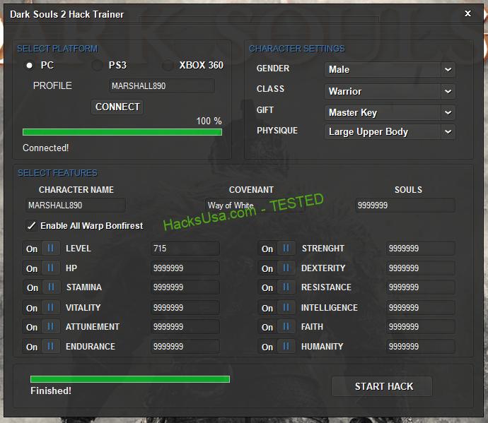 Dark Souls 2 Hack Trainer stat poins Edit character level