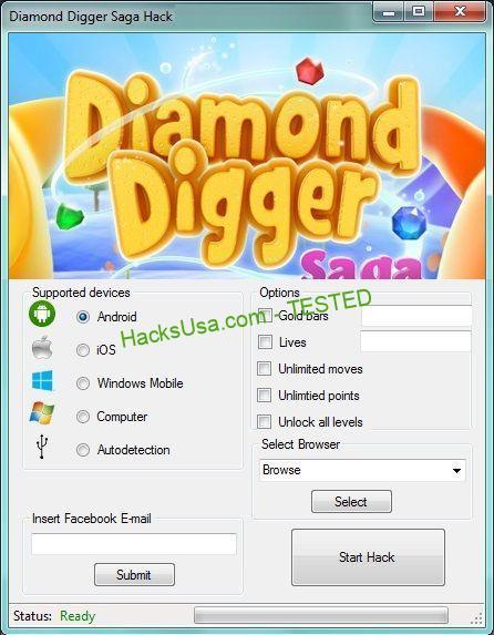 Diamond Digger Saga Hack gold bars Unlimitedlives