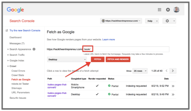google search console fetch