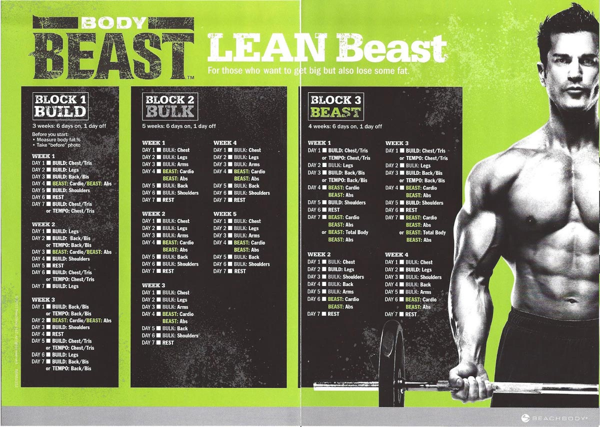 Body Beast Workout Schedule Worksheets And Calendar Downloads