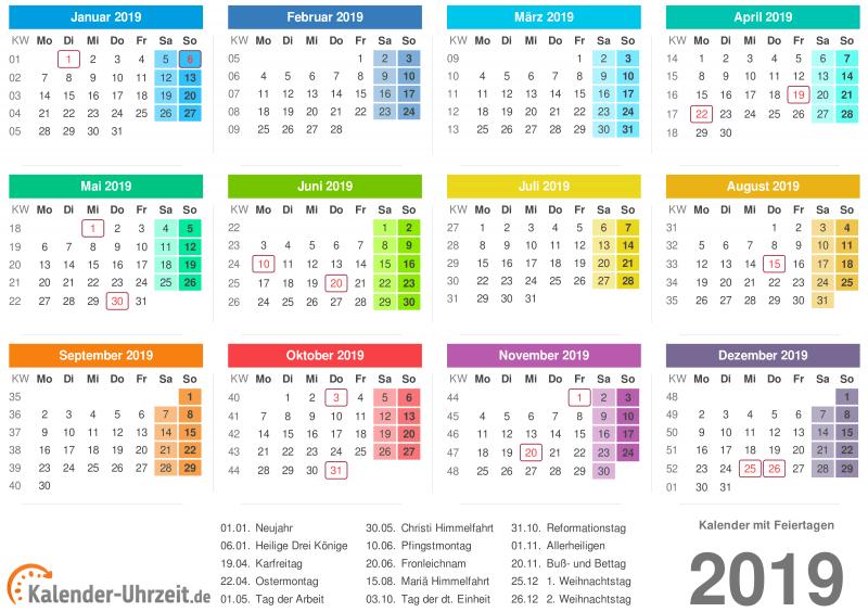 Calendario 2019 per la stampa