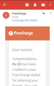 freecharge refer n earn proof