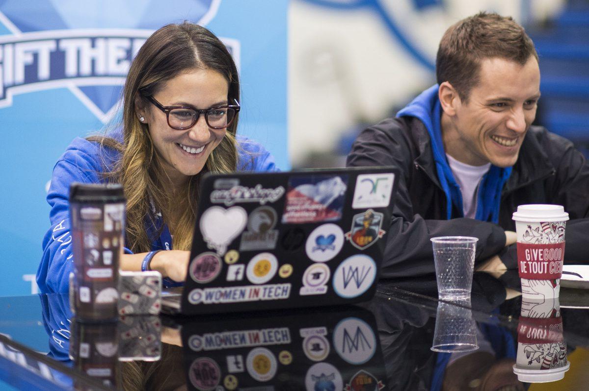 woman and man at hackathon