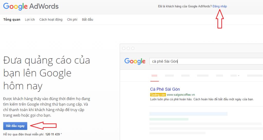 Đăng nhập tài khoản quảng cáo Google Adwords