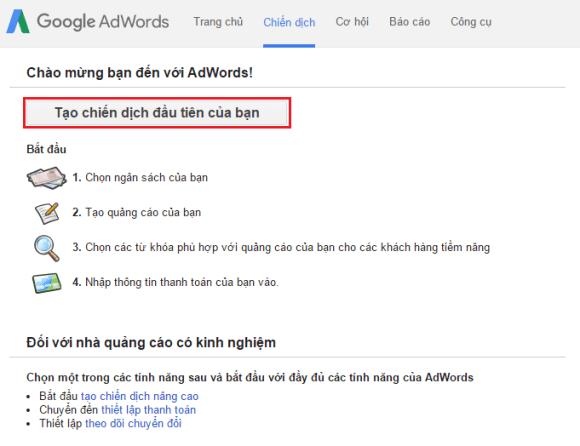 Tạo tài khoản google adwords thành công