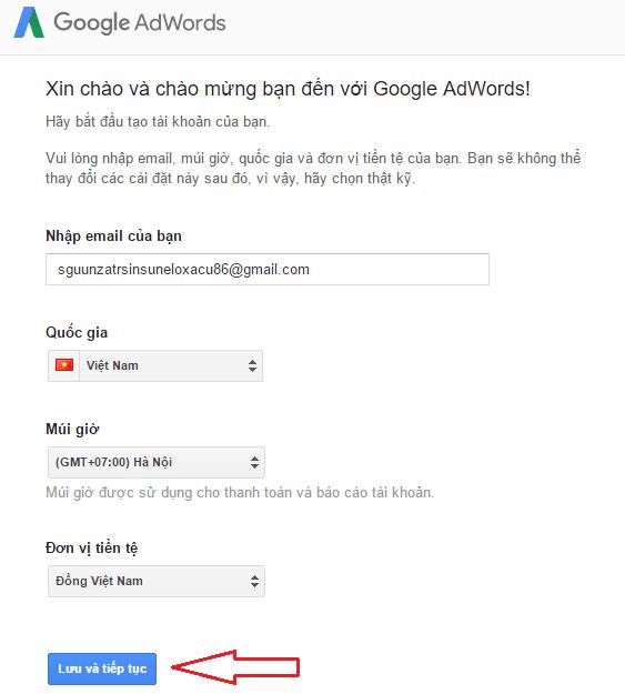 Thiết lập tài khoản google adwords