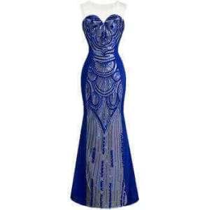 Blue Sequins Reception Dress