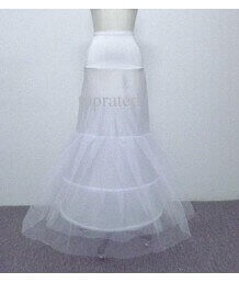 Free Size 3 Layers 2 Hoops Mermaid Petticoat Crinoline White For Bridal Gown Wedding Dress