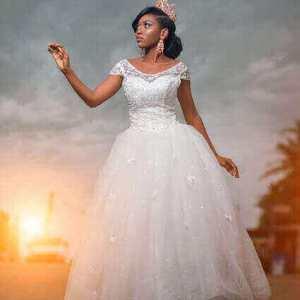 PRINCESS CAP SLEEVE BALL GOWN WEDDING DRESS