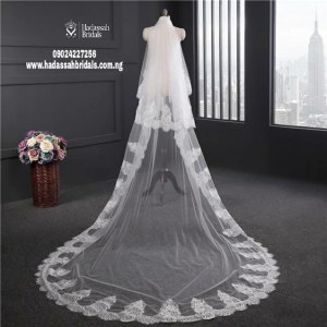 lace edge long cathedral veil back