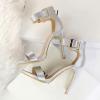 classy silk silver sandals