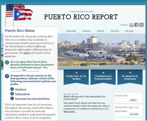 Screen Capture of Puerto Rico Report Web site home page