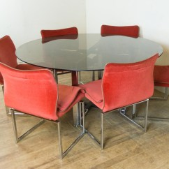 Retro Dining Table Chairs Uk Easy Christmas Chair Covers Vintage Pieff Glass And Chrome 6