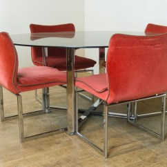 Retro Dining Room Table And Chairs Swing Chair Hyderabad Vintage Pieff Glass Chrome 6