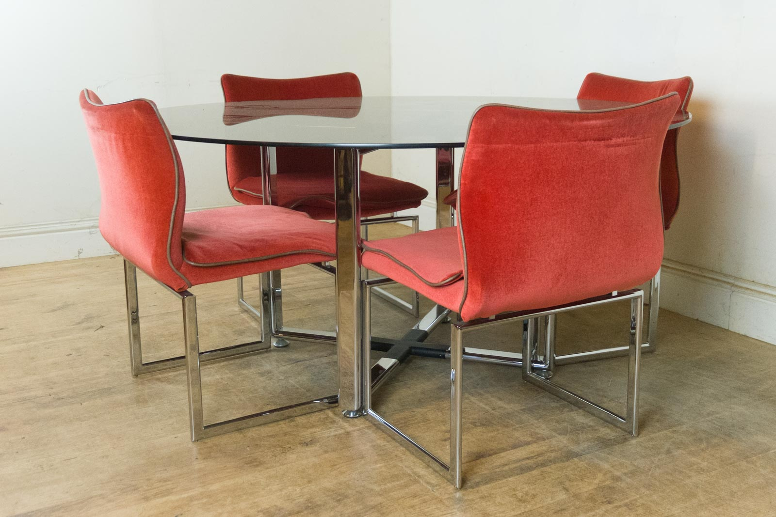 Retro Dining Chair Vintage Retro Pieff Glass And Chrome Dining Table And 6