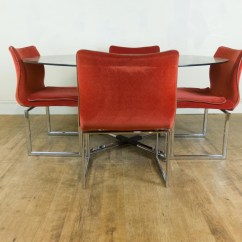 Chrome Dining Chairs Uk Plush Rocking Chair Vintage Retro Pieff Glass And Table 6