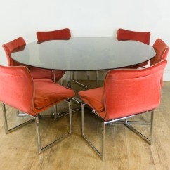 Retro Dining Table Chairs Uk Large Wingback Chair Vintage Pieff Glass And Chrome 6