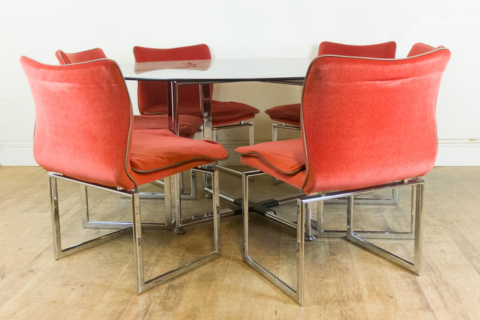 retro chrome chairs chair and a half slipcover vintage pieff glass dining table 6
