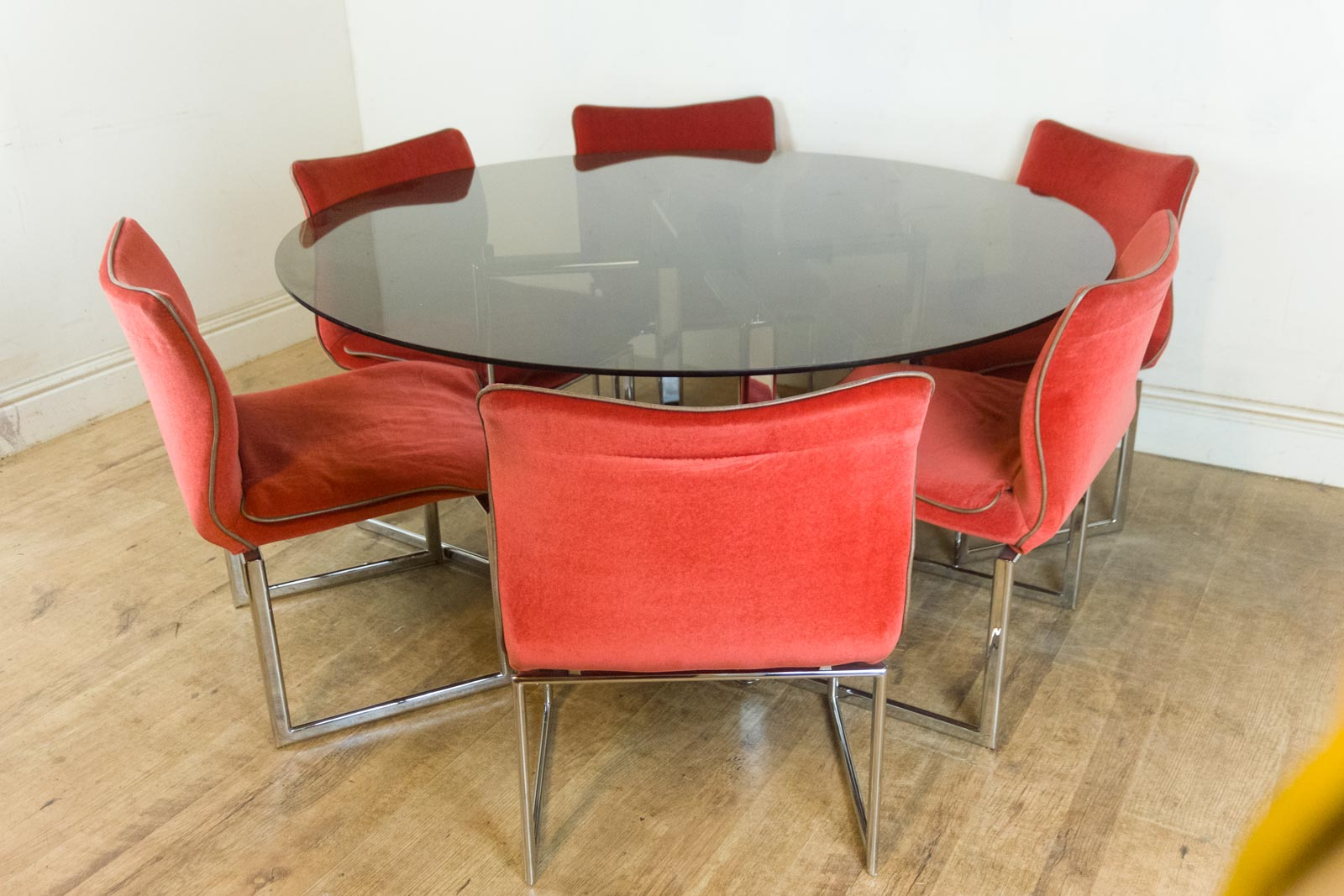 retro dining room table and chairs chinese chippendale for sale vintage pieff glass chrome 6