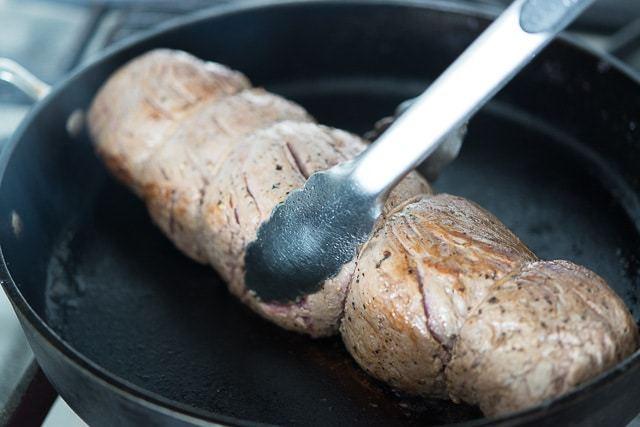 Beef Wellington Recipe - Sear the tenderloin on pan
