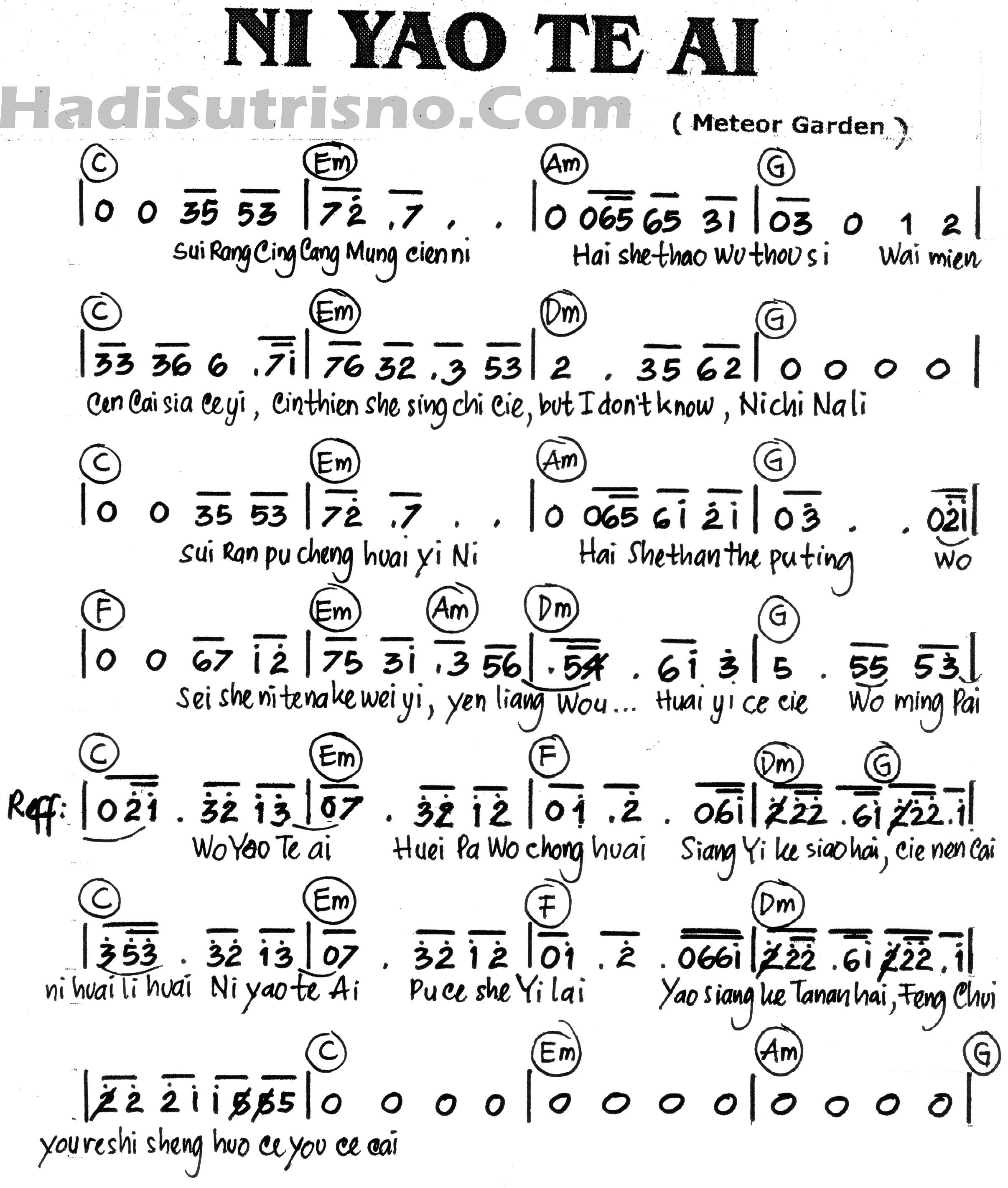 lirik dan not angka lagu sirih kuning lirik dan not angka