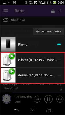 pilih device yang aktif