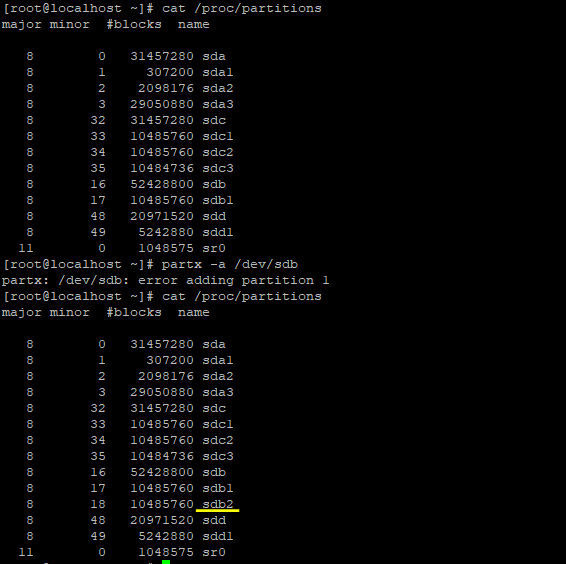 Updating the partition table /proc/partitions