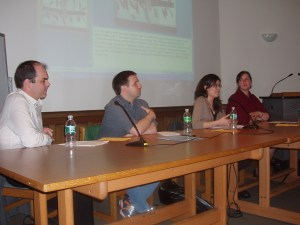 David Quinn, Justin Terry,  Alicia Josten, and Amber Goupil fielding questions from the crowd (Photo by Julia Cocuzza)