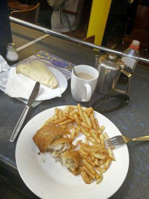Fish & Chips in der Markthalle in Carlisle