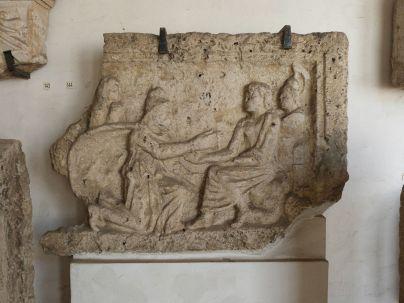 Priamos vor Achill? Man beachte den Leichnam (Hektors?), auf dem Achill thront