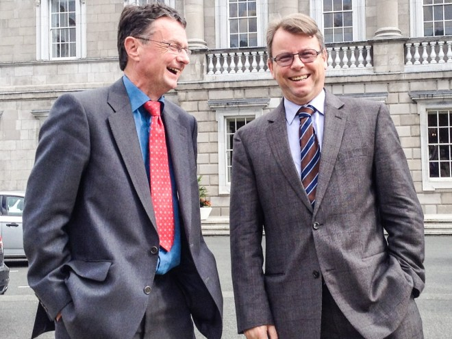 Bill Wright and Brian O'Mahony outside The Houses of Oireachtas (Ireland's National Parliament) after hearing a topical question from Deputy Robert Troy on the need for the Health Service Executive to put in place an early access programme for patients with hepatitis C to new direct acting antiviral.