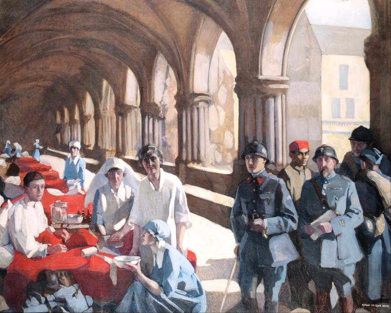 Neilson-Gray,_Norah_-_The_Scottish_Women's_Hospital_-_In_The_Cloister_of_the_Abbaye_at_Royaumont__Dr__Frances_Ivens_inspec____-_Google_Art