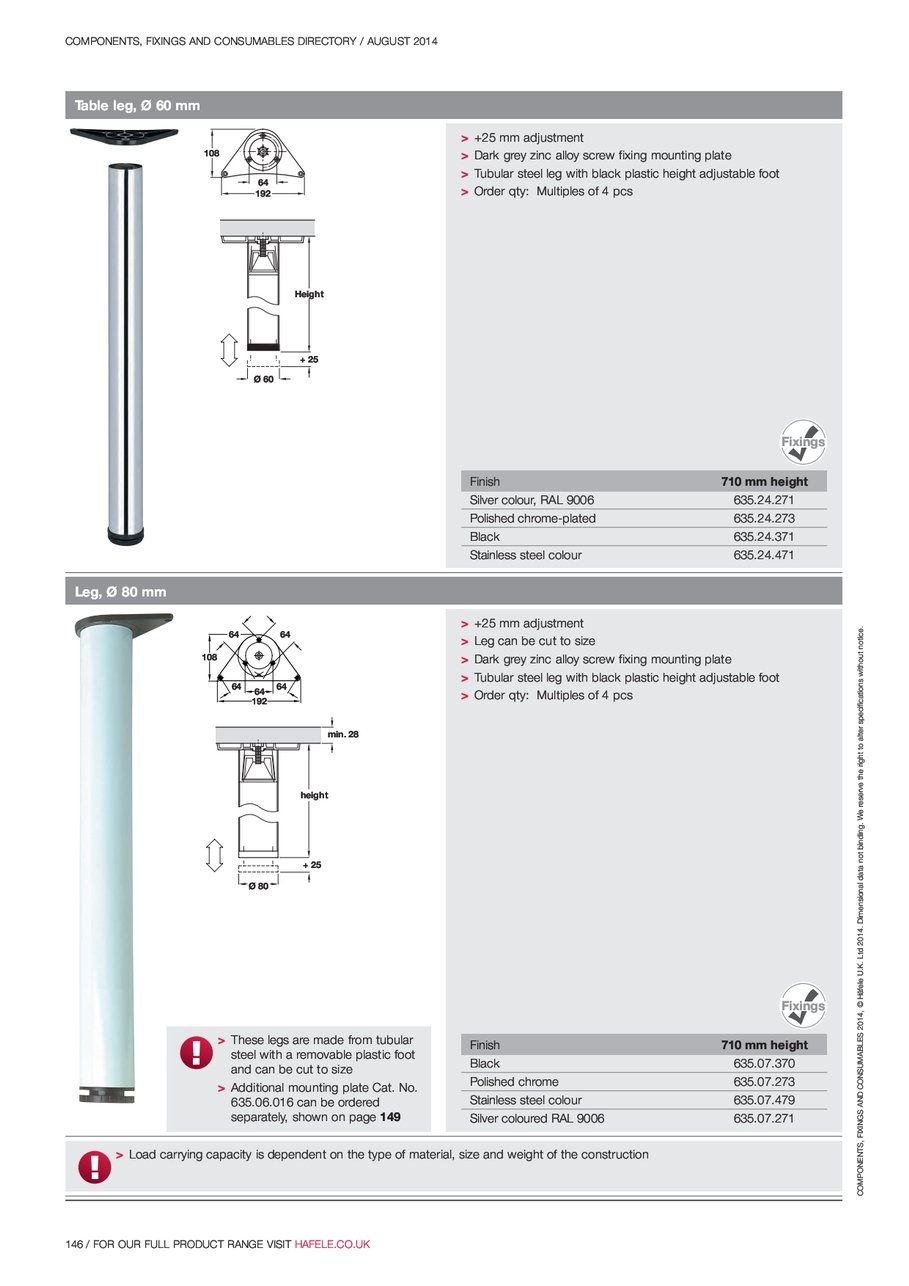 hight resolution of height table components