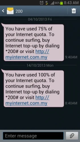 SMS data exceed