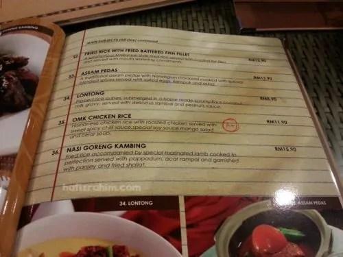 menu nasi old malaya kopitiam bangi