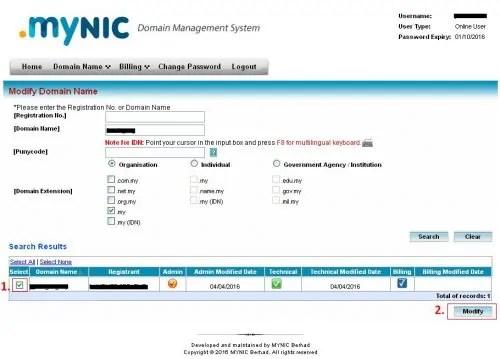 Modify-nameserver domain Mynic