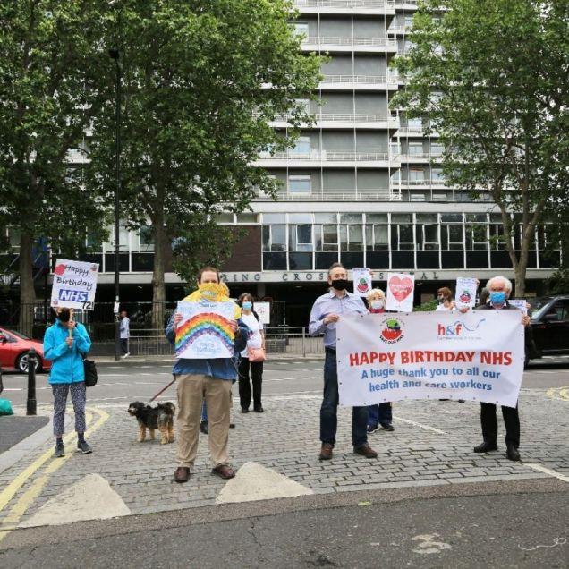 Well wishers outside Charing Cross Hospital