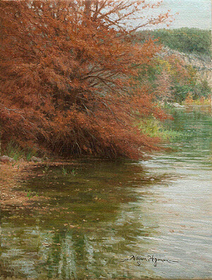 Guadalupe Cypress 12x9 oil by William Hagerman copyright 2013