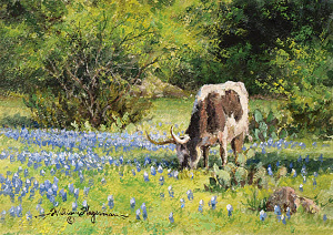 small longhorn painting by William Hagerman copyright 2013