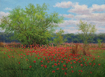 "William Hagerman small landscape oil painting titled: ""Scarlet Pasture"" featuring red poppies"