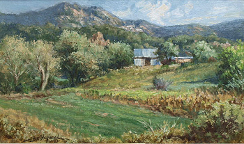 oil study landscape near Cundiyo, NM by William Hagerman copyrighted