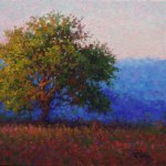 Impressionist landscape oil painting by Byron of a lone tree at sunset