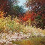 Impressionist oil painting of autumn trees by Byron copyright 2014