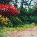 impressionist landscape oil painting of a red tree in a garden by Byron