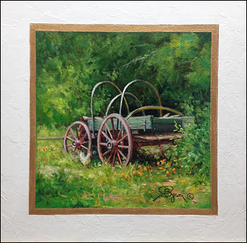 "old wagon oil painting by William ""Byron"" Hagerman"