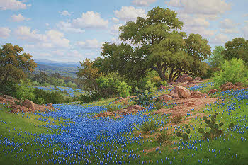 "bluebonnet oil painting by William ""Byron"" Hagerman"