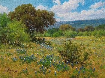 Texas landscape bluebonnet oil painting by Byron