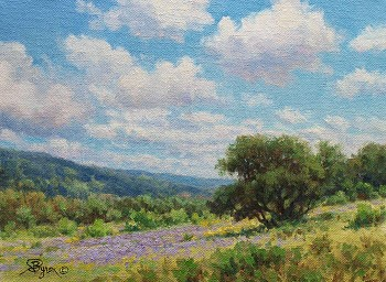 landscape oil painting of clouds impressionist oil by Byron